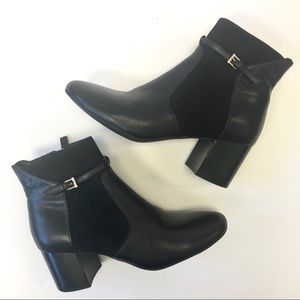 Cole Han Paulina Black Leather Suede Ankle Boots 7